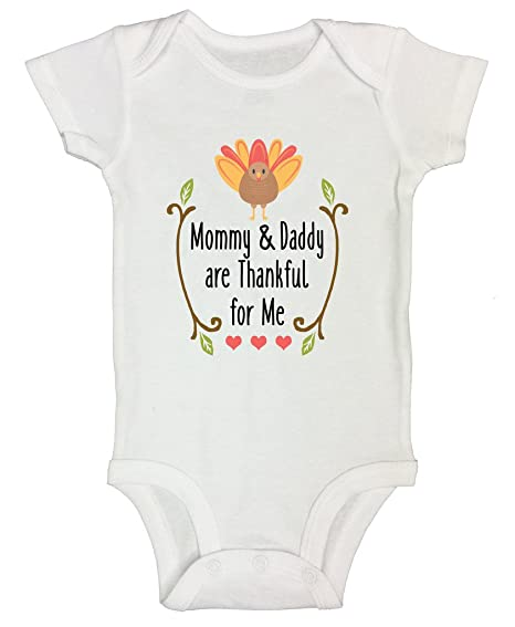 """Thanksgiving Holiday Onesie """"Mommy   Daddy Are Thankful For Me"""" Funny  Threadz Kids 0 bed0cee05"""