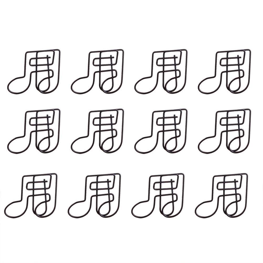 MoGist 12 tlg Metall B/üroklammer Schwarz Niedlicher Musiknote Form Design B/üro Aktenklammern Passend f/ür Dekorative Gru/ßkarten Kalender