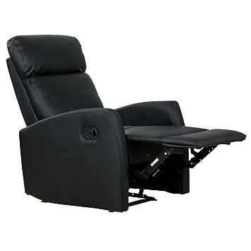 034ac4d45ff07b Homcom Fauteuil de Relaxation inclinable 180° avec Repose-Pied Ajustable Simili  Cuir Noir