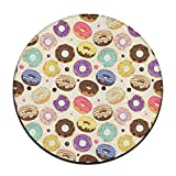Cute Donuts Round Carpet Area Floor Rug Entrance Entry Way Front Door Mat Ground 23.6 Inch Rugs For Decor Decorative Men Women Office