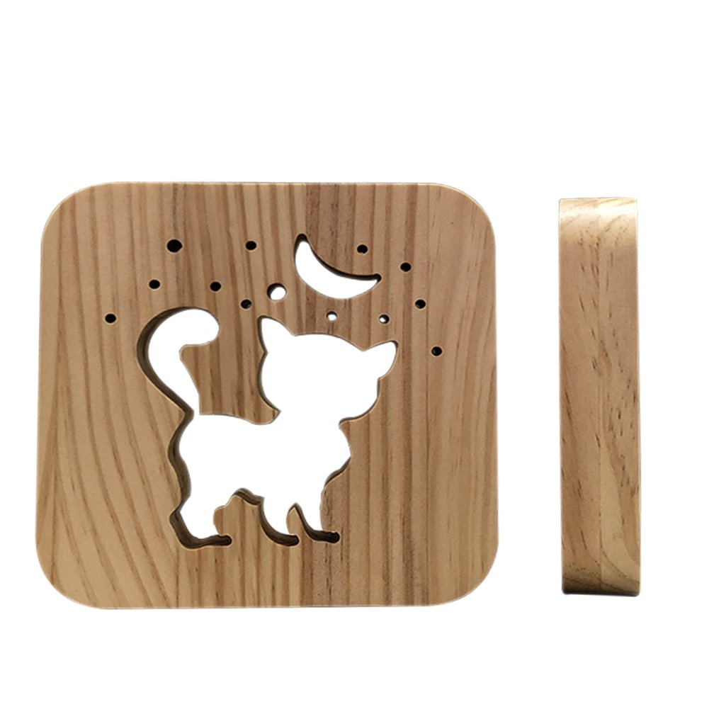 Natural Cat Wooden Night Lamp for Kids,Wood Baby Table Lamp for Breast-Feeding with 3D Illusion, Perfect Birthday Gift USB Line Safety Desk Lamp Christmas Present Decoration Light