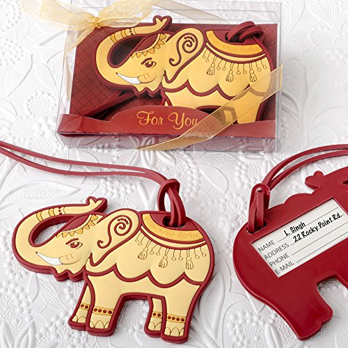 Ruby Elephant - 30 Adorable Ruby Red And Cream Elephant Luggage Tags