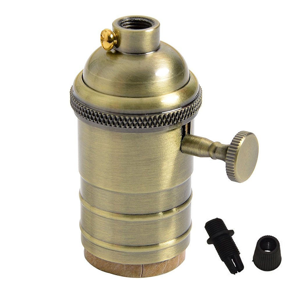 Bulb Holder Vintage Brass Lamp Socket E27 With Switch On Off Wiring Metal Of Splink Light Fitting Set For Retro Edison Pendent Wall Scone Diy