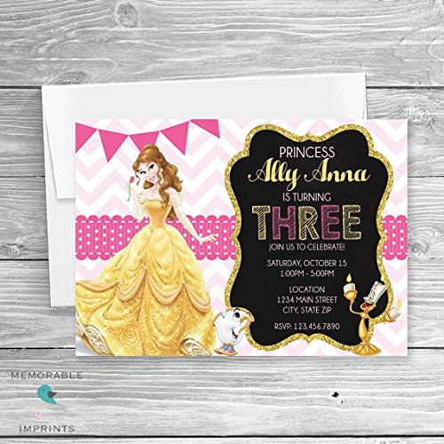 Amazon belle birthday invitation disney princess disney belle birthday invitation disney princess disney birthday invitations princess invitations beauty and stopboris Images