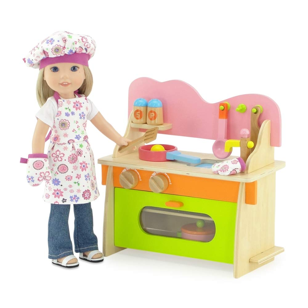 Kitchen Set with Baking Oven Emily Rose 14-inch Doll Furniture Sink and Cookware Accessories Stove Fits American Girl Wellie Wishers Dolls Emily Rose Doll Clothes