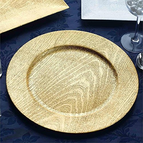 (BalsaCircle 24 pcs 13-Inch Gold Wooden Textured Acrylic Round Charger Plates - Dinner Chargers Wedding Party Supplies Holidays)