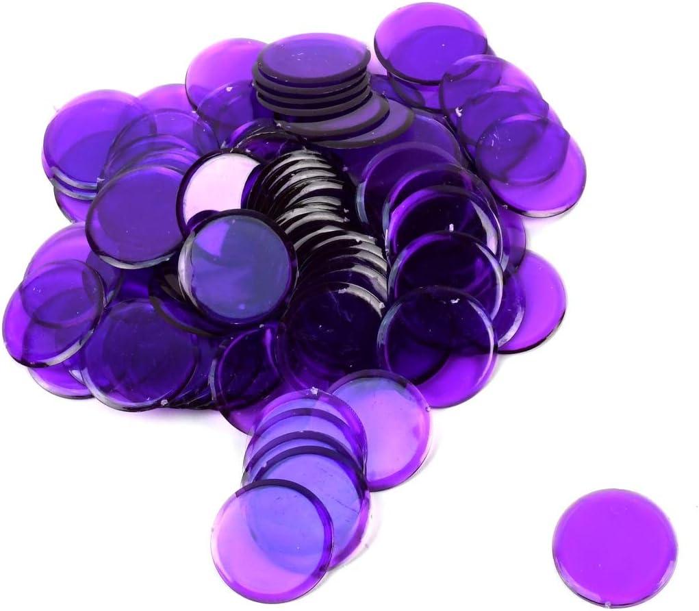 100 Clear Purple 7//8 Plastic Bingo Chips Transparent Paper Hard Card Markers Set
