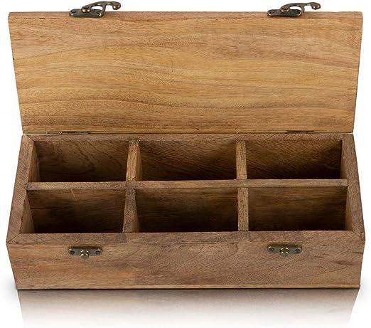 Caja de té de madera con 6 compartimentos de almacenamiento para varias especias de té y hierbas, caja decorativa rústica natural, ecológica: Amazon.es: Hogar