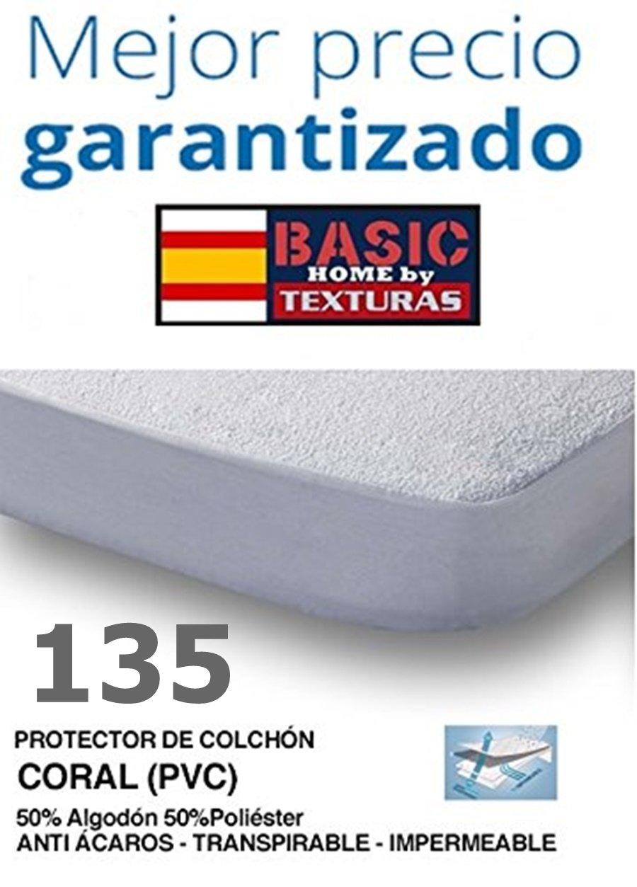 BASIC HOME by TEXTURAS Protector de Colchón CORALINA Impermeable y Transpirable 135X190/200+23 ...: Amazon.es: Hogar