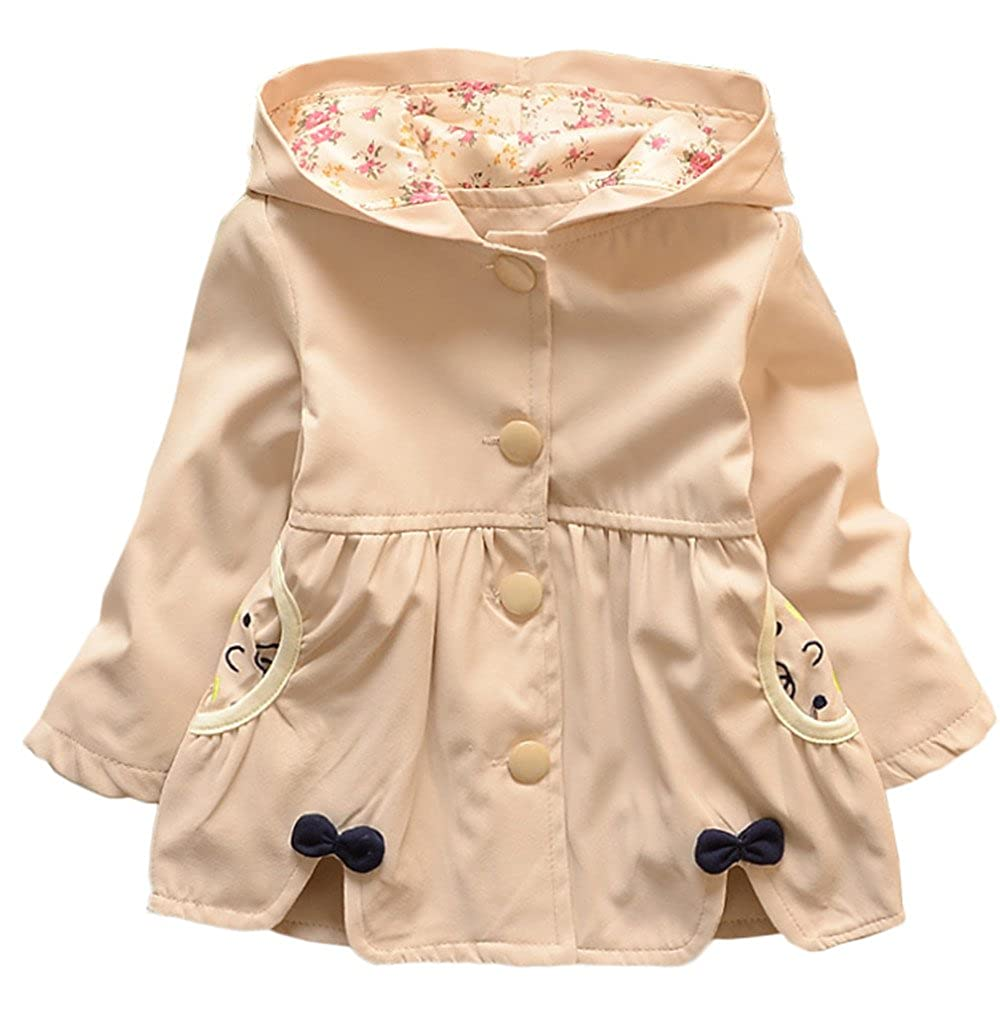 Baby Girl Spring Fall Cute Bowknot Hooded Trench Coat Jacket