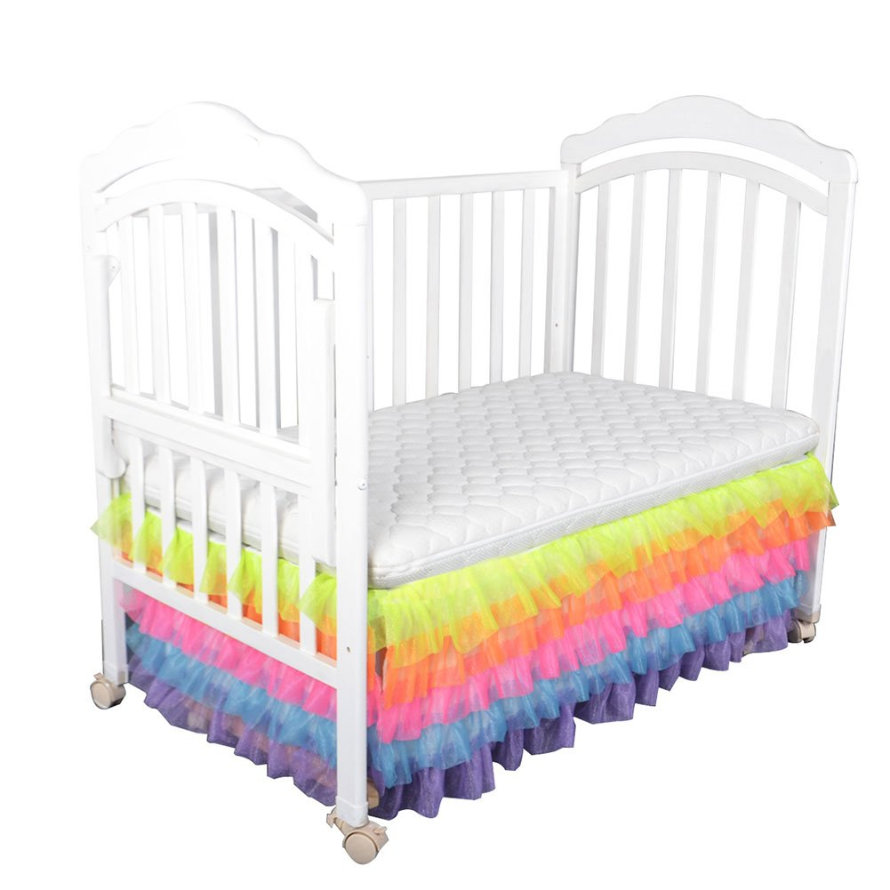 Samber Crib Skirt Dust Ruffle, Colorful Baby Bed Skirt for Baby Boys Girls, 16in Drop