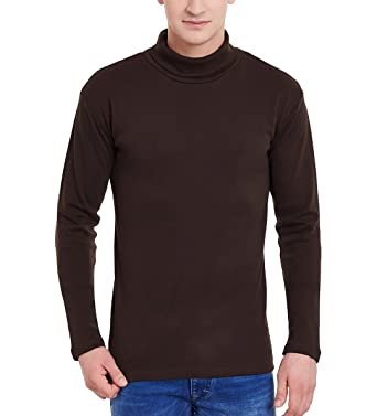 ae326eee9ae175 Hypernation Brown Color Cotton High Neck T-shirt For Men: Amazon.in:  Clothing & Accessories