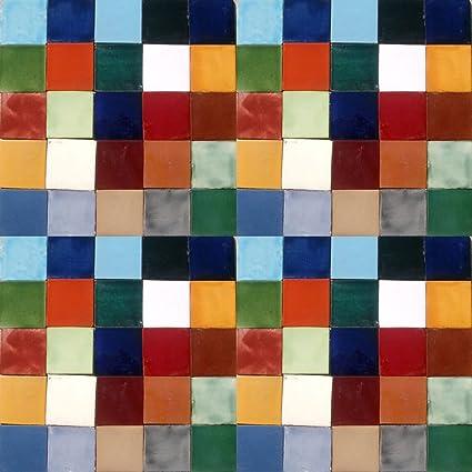 Amazoncom SOLID COLORS TILES MEXICAN CERAMIC ASSORTED X TILE - Cheap 4x4 tiles