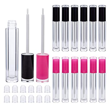 Lip Gloss Brush Wand Tubes Empty, 12 Pack 5ml Lip Gloss Containers with Wand, 6 Pink and 6 Black Lip Gloss Tubes with Rubber Stoppers for DIY Lip Gloss Balm (Black and Pink)