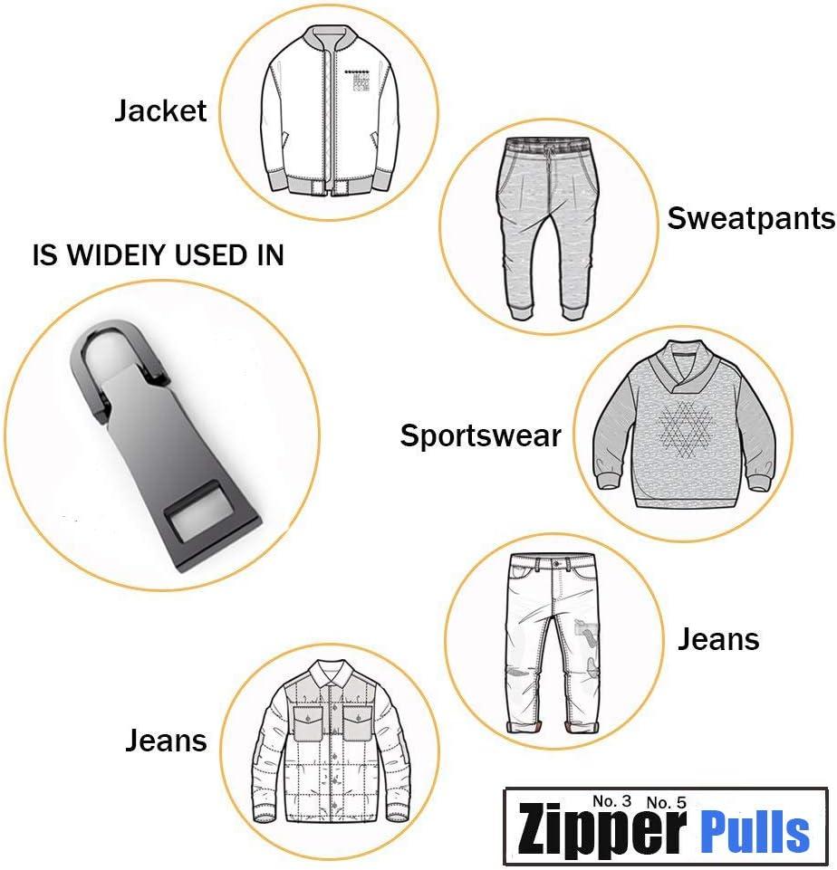 10Pack Zipper Pulls 5 Colors Metal Zipper Fixer Repair Replacement Pullers Metal-Plated Kits Zipper Sliders Zipper Pullers for Backpack Suitcase Jacket Bags Coat by HOWRIN