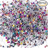 quilters flower pins - Hibery 800 Pack Round Plastic Head Quilting Pins For Dressmaking Jewelry Components Flower Decoration, Weddings Corsage Florists Sewing Pin Multicolor