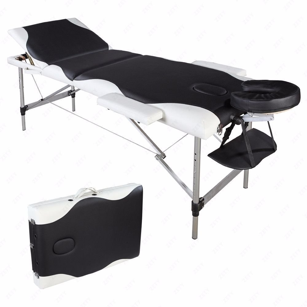 Aluminum 3 Section Folding Massage Table Facial SPA Bed Tattoo w/Free Carry Case