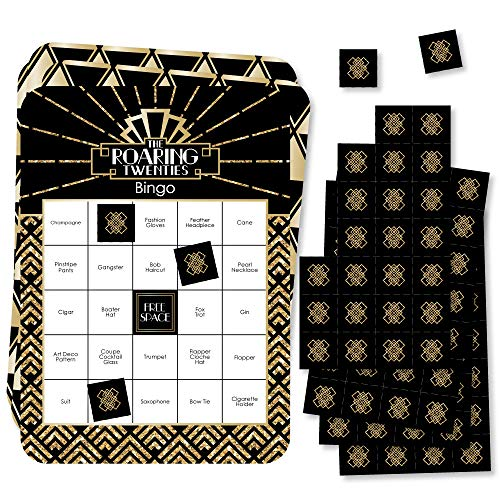 Big Dot of Happiness Roaring 20's - Bar Bingo Cards and Markers - 1920s Art Deco Jazz Party Bingo Game - 2020 New Year's Eve Party - Set of 18 (New Years Eve Party Games For Large Groups)