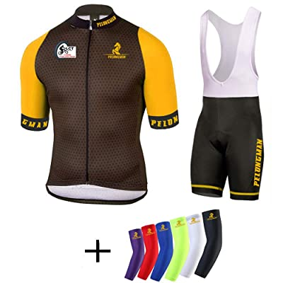 Mens Short Sleeve Cycling Jersey Padded Cycling Bib Shorts Quick Dry Breathable