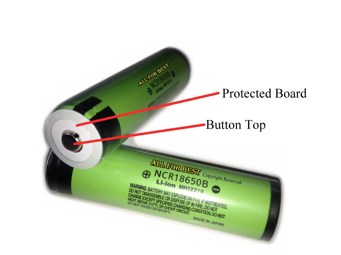 AllForBest Button Top /Protected Board/OEM Authentic Panasonic 18650 NCR18650B /3400mAh/For Flashlight by Panasonic (Image #1)