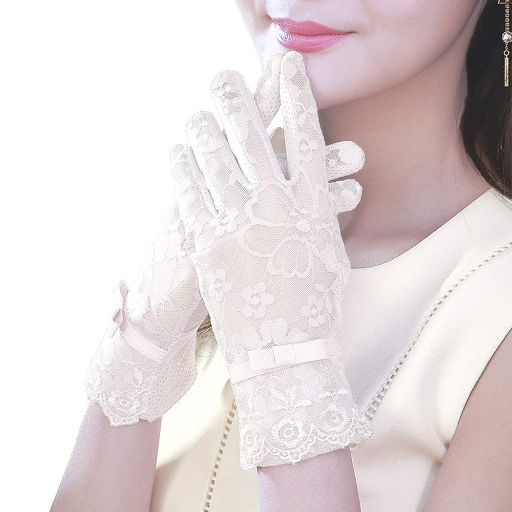 Vintage Gloves History- 1900, 1910, 1920, 1930 1940, 1950, 1960 MoonEver Womens Short Elegant Lace Gloves Touch Screen No-Slip Summer Gloves $7.99 AT vintagedancer.com