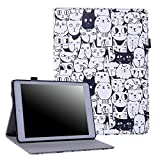 HDE Case for New iPad 9.7 (2018 / 2017) - Leather Folio Cover Slim Fit Smart-shell Multi-Angle Vintage Stand for iPad 9.7 Inch (5th and 6th generation) (A Thousand Cats)