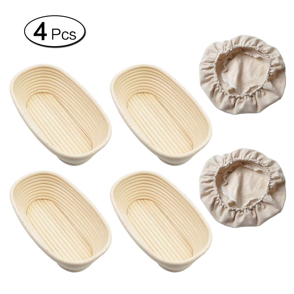 EudoUS 4Pcs Oval Banneton Brotform Bread Baskets with Linen Liners hold 600g Dough Proofing Proving Natural Rattan by EudoUS (Image #2)