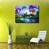 Framed LED Painting Colorful Hot Air Balloon Over The Beautiful Town HD Print Picture On Canvas Home Decor Without Battery …