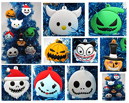 Pumpkin King Jack Skellington Nightmare Before Christmas Holiday Ornament Set Featuring Jack Friends - Unique Shatterproof Plastic Design
