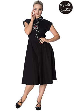 Banned Model Face Plus Size Longer Dress - Black White - Black/UK-18