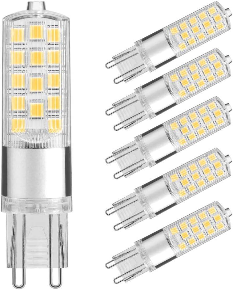 Sin Parpadeo Bombillas LED G9, Lightone 5W equivalente a 50W, 450 ...