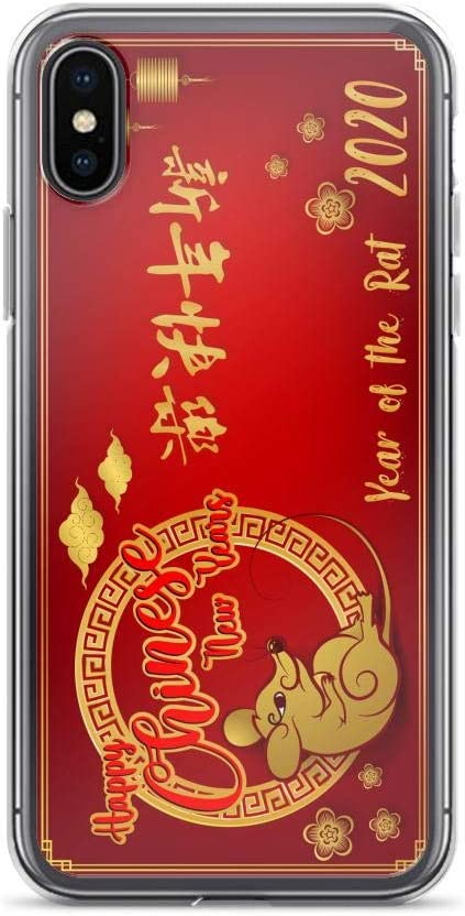 Compatible for iPhone XR Cases 2020 Happy Chinese New Year of The Rat Zodiac Red Mouse Anti Bumps Scratches