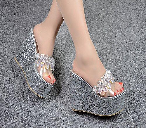 XiaoGao Nuevas perlas adornada con super cool zapatillas de tacon alto y 13 centímetros,Plateado