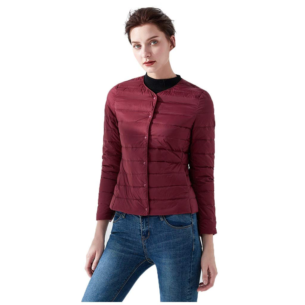 TIFENNY Lightweight Short Down Jacket Women's Casual O-Neck Light Coat Solid Color Button Pocket Down Jackets Outwear Wine by TIFENNY