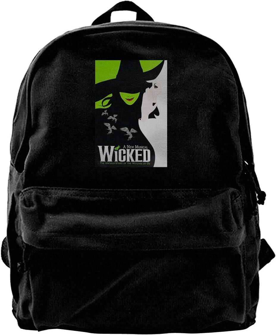 Veta Megica Black Wicked The Musical V-Neck Backpack Bookbags Daypack Laptop