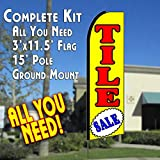 TILE SALE (Yellow) Flutter Feather Banner Flag Kit (Flag, Pole, & Ground Mt)