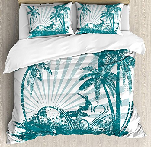Twin XL Extra Long Bedding Set, Ride The Wave Duvet Cover Set, Grunge Tropical Scene with Man Surfing Surreal Sports Adventure Illustration, Include 1 Flat Sheet 1 Duvet Cover and 2 Pillow Cases by Fantasy Star (Image #1)