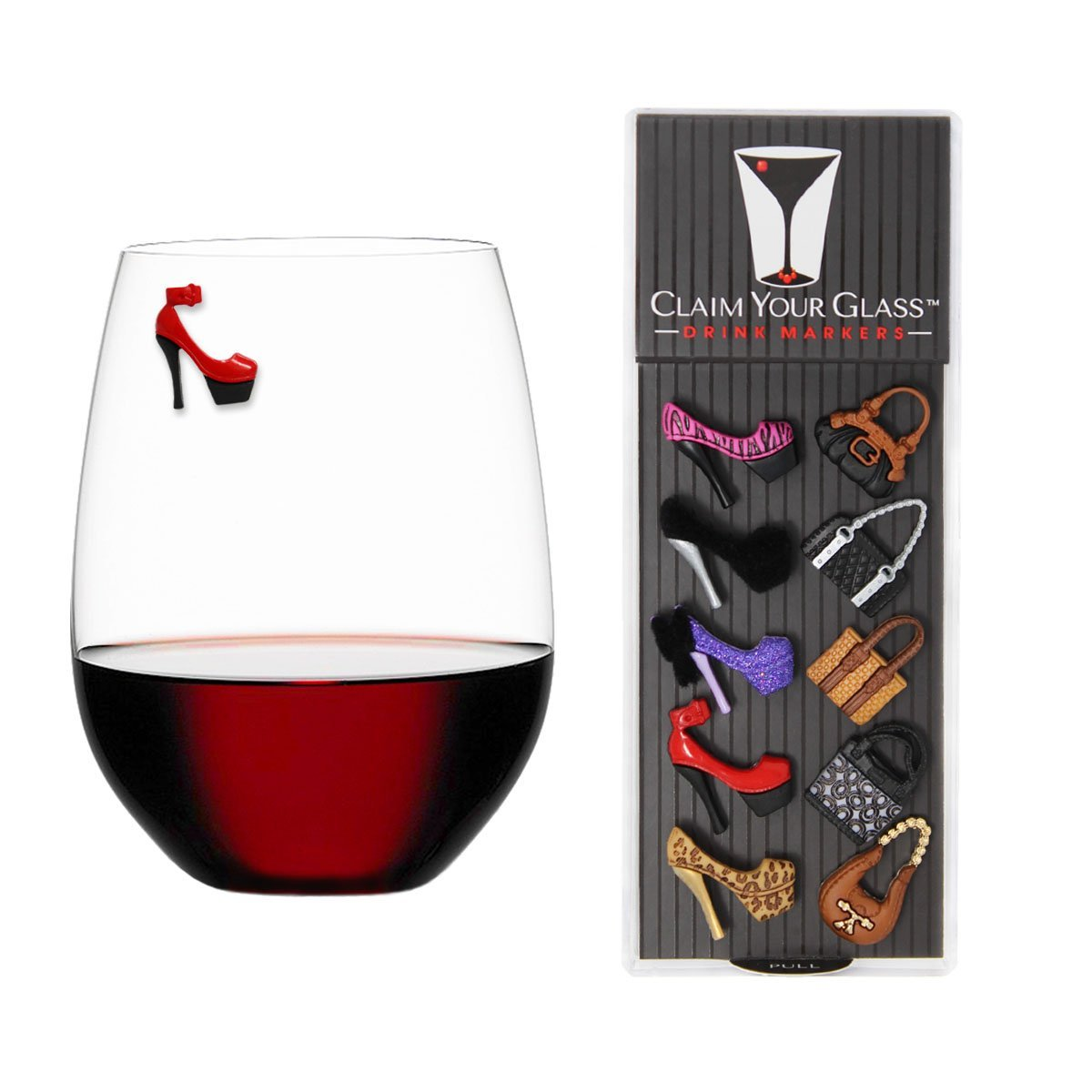 HEELS & PURSES Magnetic Wine Glass Charms (Set of 10) by Claim Your Glass - Premium Drink Markers for Wine, Champagne, Beer, Cocktail Glasses - Includes Storage Case + Spare Magnet