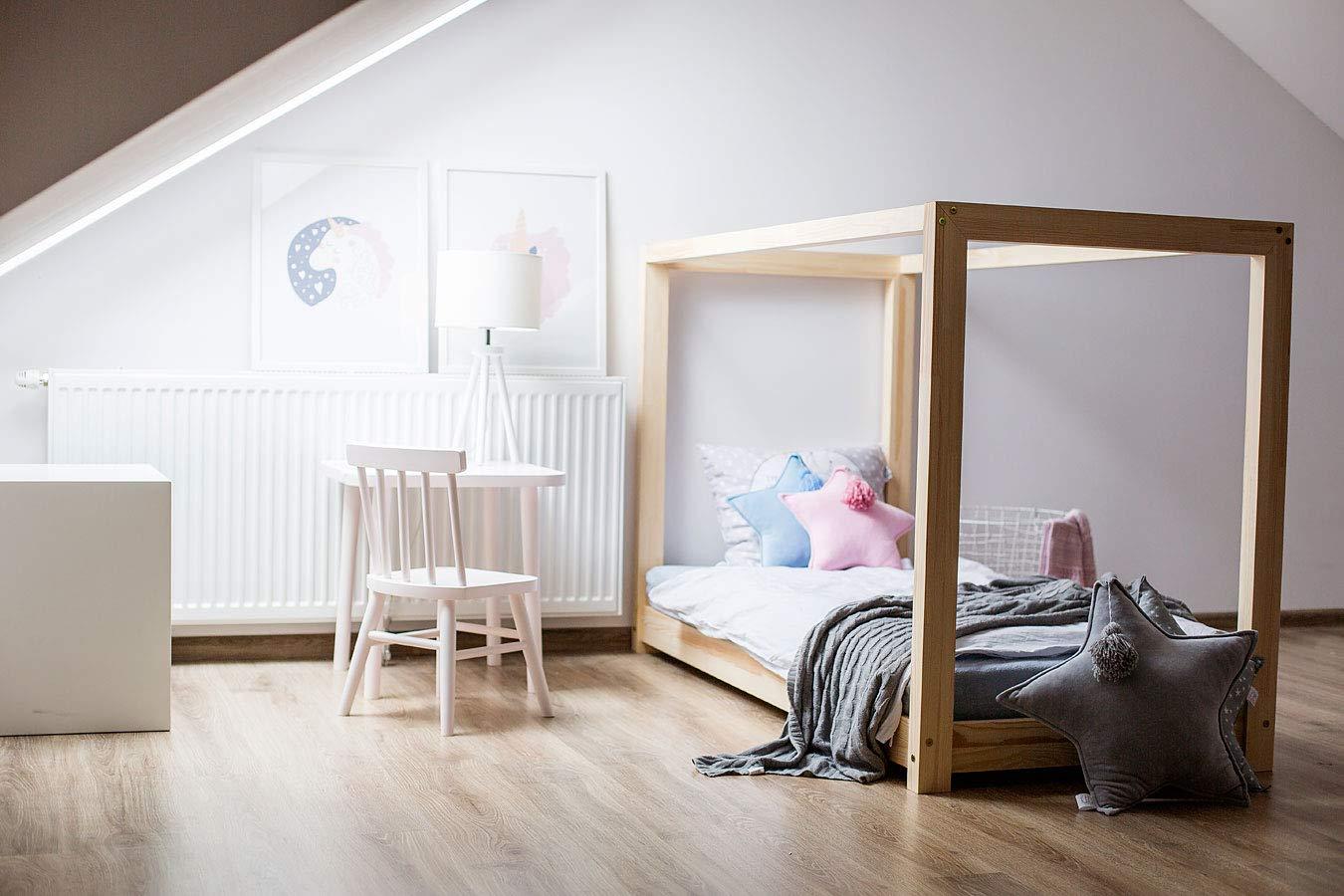 Best For Kids Hausbett Cube Kinderbett Kinderhaus Jugendbett Natur Haus Holz Bett in viele Größen 70x140cm-160x200cm(140x200cm)