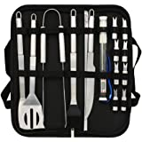 AULUX BBQ Tool Set, 19pcs Stainless Steel Barbecue Grill Accessories in Oxford Bag, Premium Complete Outdoor BBQ Utensils Set for Men Women with Thermometer