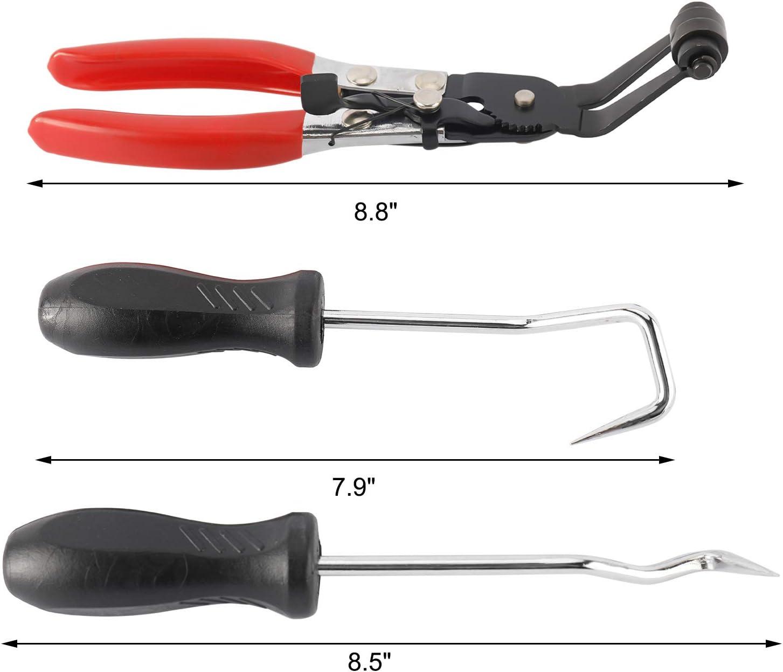 NovelBee 45/° Flat Band Hose Clamp Plier Angled Swivel Jaw Locking with 2pcs Hose Removal Hook Set
