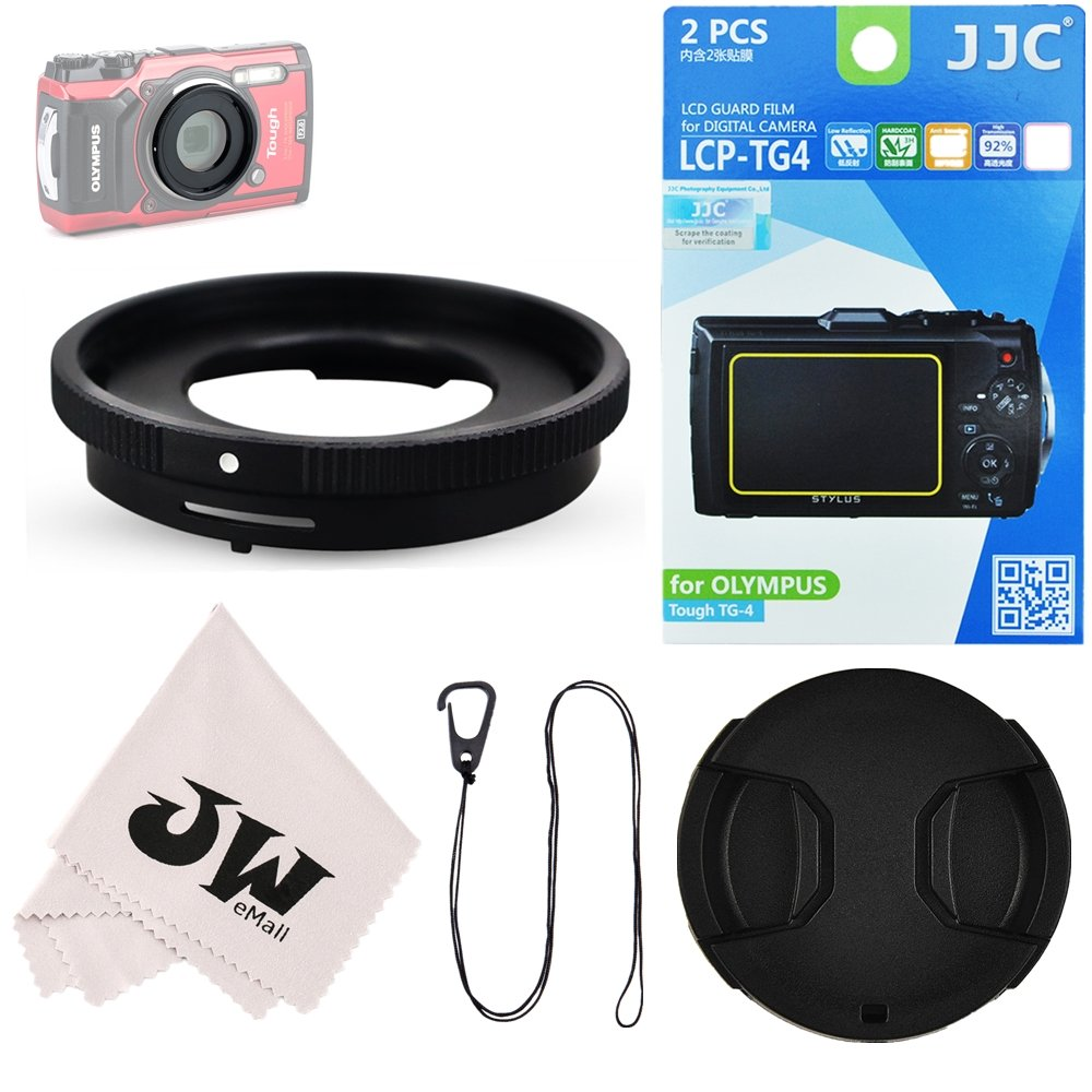 5in1 Accessories Kit for Camera Olympus Tough TG5 TG-5 TG-4 TG-3 : Lens Adapter Filter Adapter as CLA-T01 + 2Pcs Screen Protector + 40.5mm Lens Cap + Lens Cap Hook Keeper + Microfiber Cleaning Cloth by JW
