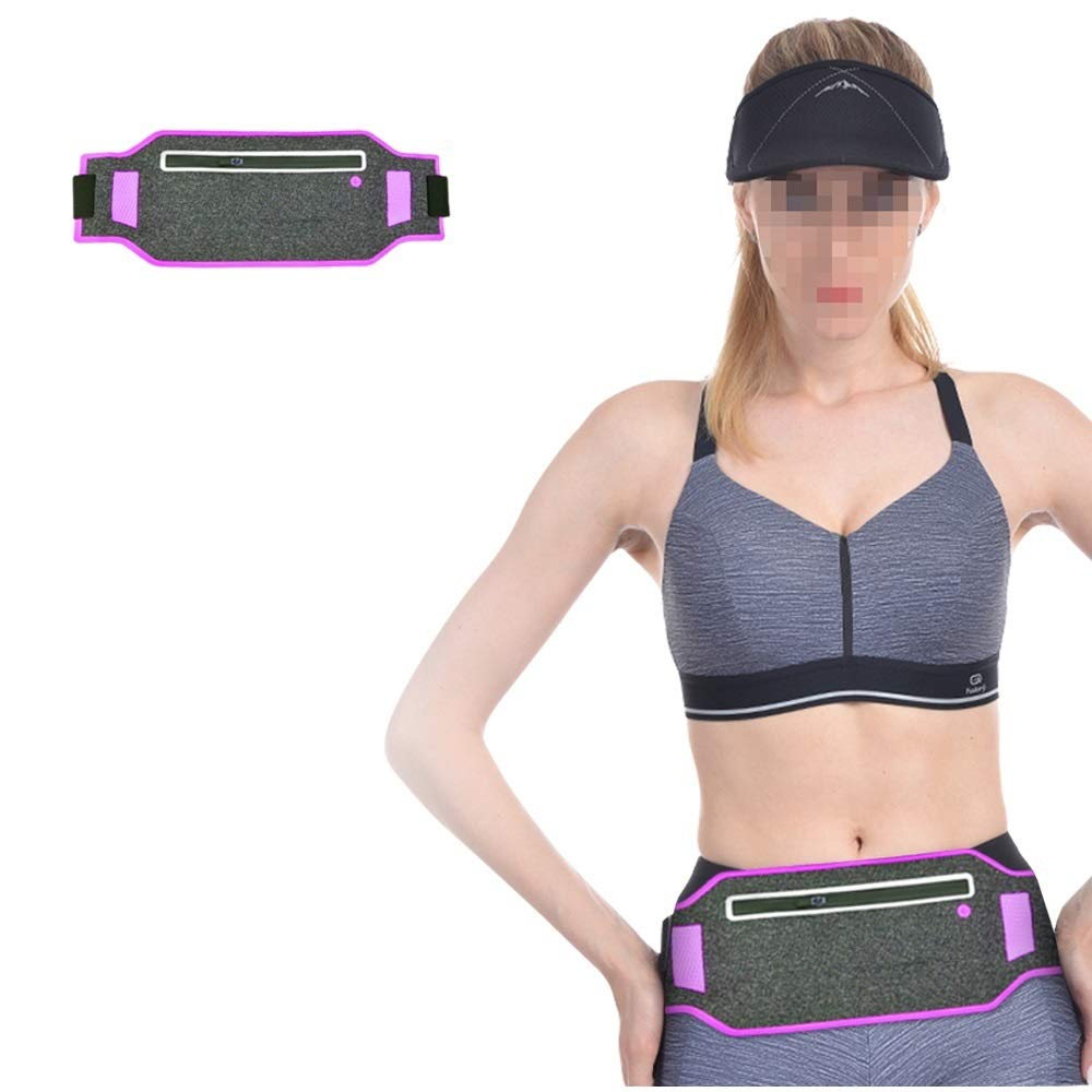 GOODFREY Ultra Thin Running Belt Water Resistant Waist Bag Pack with Adjustable Length from 25.98in to 47.24in for Iphone SE 6S 6 Plus,Samsung Note 5 S7 or Other Mobile Phones within 6.5in