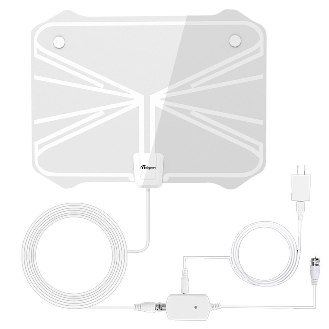 TV Antenna, Reignet 50 to 70 Mile Range Amplified Indoor HDTV Antenna with Detachable Amplifier Signal Booster and 16.5FT Coax Cable - White