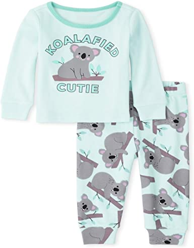 The Childrens Place Girls Baby and Toddler Kangaroo Snug Fit Cotton Pajamas