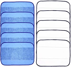 GZQ Mopping Cloths Wet Dry Replaceable Mop Pad Microfiber Pro-Clean Cloths for iRobot Braava 380 380t 320 Mint 4200 4205 5200 5200C Vacuum Cleaner (5 Wet & 5 Dry)