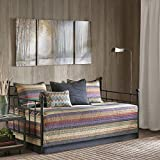 5 Piece Brown Purple Tan Stripe Daybed Set, Geometric Southwest Western Nautical Traditional Classic Striped Shabby Chic Beach House Lake Pattern Day Bed Bedding Bedroom Bedskirt Pillows, Polyester