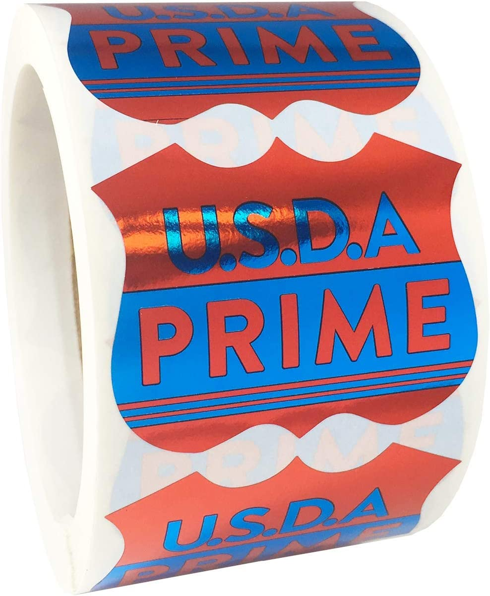 USDA Prime Grocery Store Food Labels 2 x 2 Inch 500 Total Adhesive Stickers