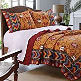 Southwest Indian Medallion Stripe Pattern Print Bedding Yellow Red Blue Luxury Reversible 3 Piece 100 Cotton Quilt Set with Shams King Size - Includes Bed Sheet Straps