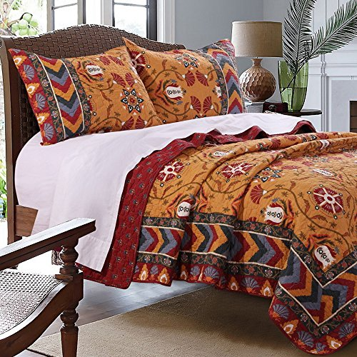 southwest indian medallion stripe pattern print bedding yellow red blue luxury reversible 3 piece 100 cotton quilt set with shams double full queen size